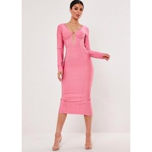 NWT Pink Bandage Cup Detail Midi Dress
